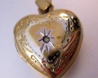 Vintage Heart Locket Pendant Sterling Vermeil & Diamond Chip Fine Jewelry Jewellery