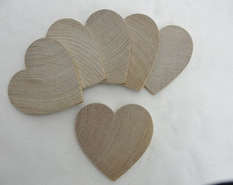 "6 Wooden hearts 3 inch (3"") wide 1/4"" thick wooden hearts unfinished wood hearts diy"