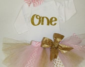 first birthday outfit girl, pink gold glitter scrap tutu, 1st birthday bodysuit, birthday tutu skirt, cake smash gold glitter one shirt