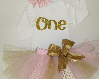 girls birthday outfit, pink gold, first birthday shirt, 1st birthday shirt and tutu skirt, cake smash outfit, gold one shirt, birthday tutu