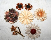 Lot of Vintage Enamel and Metal Flower Brooches and Earrings