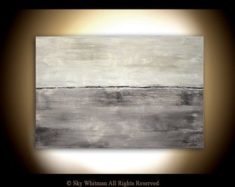 Abstract Landscape Original Gray Large Painting Original Modern Contemporary Art Seascape 24 X 36 Oil Painting by Sky Whitman
