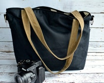 CAMERA BAG Waxed canvas / faux leather /  black and toffee by Darby Mack made in the USA