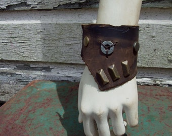 Scavenged Brass and Leather Cuff -- wasteland weekend burning man tribal fusion larp barbarian apocalyptic apocalypse steampunk dieselpunk
