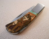 Sante Fe Stoneworks Wolf Design Pocket Knife NOS