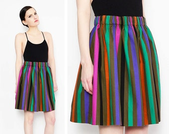 80s Striped Cotton Skirt Elastic High Waist Retro Jewel Tone 1980s Full Mini Skirt Medium Large M L