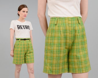 Vintage 60s 70s Green Plaid Shorts High Waist Preppy Wool Trouser Shorts Small Medium S M 6 8