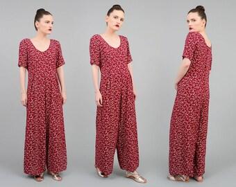 Vintage 90s Jumpsuit Burgundy DITSY Floral Romper Boho Grunge Wide Leg Pantsuit Dark Red White Small Medium S M