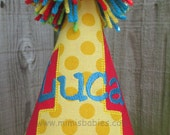Red Birthday Hat, Boy or Girl Birthday Hat, Red Yellow Blue Green Birthday Hat
