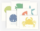 Set of 6 Ocean Animal Note Cards, Playful Beach Style Greeting Cards, Nautical Note Cards, Blank Greeting Cards, Note Cards A2