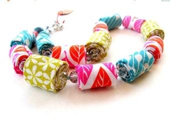 LetsPartySale Summer colorful fabric necklace, bright colorful fabric necklace, statement vibrant fiber necklace