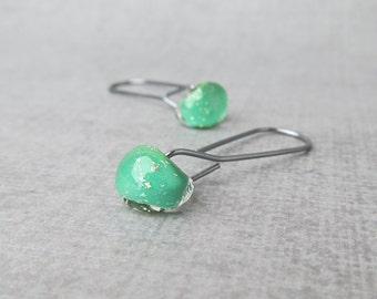 Shamrock Green Earrings Minimalist, Long Dark Silver Wire Earrings, Lampwork Earrings Green Silver, Oxidized Sterling Silver Dangle Earrings