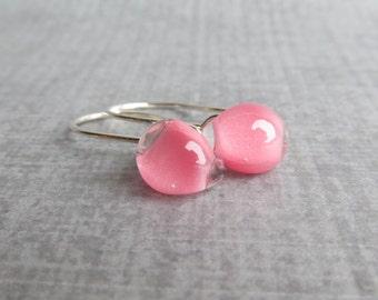 Pink Drop Earrings Silver, Pink Earrings, Small Dangles Pink Glass, Sterling Silver Earrings, Lampwork Earrings, Minimalist Earrings Pink