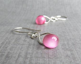 Orchid Pink Dangle Earrings, Lampwork Dangles, Lampwork Earrings Pink, Pink Glass Earrings, Pink Earrings, Sterling Silver Wire Earrings