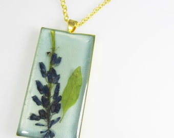 Grape Hyacinth on Teal, Pressed Flower Pendant, Real Flower Jewelry, Necklace, (1889
