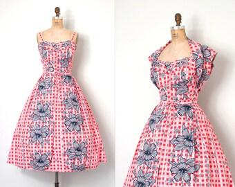 o n h o l d.....vintage 1950s hawaiian dress | floral print 50s dress | Nani of Hawaii