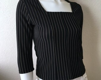 Vintage Women's 90's Black, Gold Striped Blouse, Top by KB & Company (XS/S)