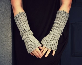 Gray Grain - crocheted open work lacy romantic wrist warmers mittens cuffs hippie boho style