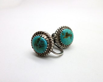 Simple Vintage Turquoise and Sterling Silver Screw Back Earrings