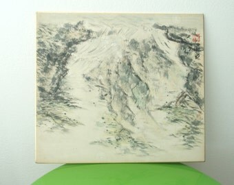 Abstract Landscape Picture Japanese Shikishi Original Painting