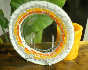 Mosaic Glass Candle Plate~ Sun