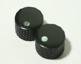 Set of 2 Knurled Ebony Guitar Knobs with Abalone Dot Indicator (3/4 dia x 5/8 height)