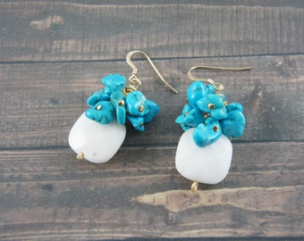 Dyed Magnasite and white jade earrings, turquoise color and white gem earrings, wedding, summer, tropical, gold dangle earrings, bridesmaid