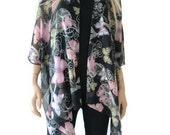 Kimono cardigan  with pastel butterflies  Black kimono with butterflies-Layering piece-Only one available