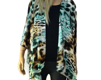 Leopard/cheetah-Aqua blond  Kimono Cardigan-Sheer kimono jacket/Ruana -summer collection-Last one