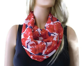 Red poppies scarf-Chiffon infinity scarf-Red white and blue-Little breezy pop of color- Instant gratification