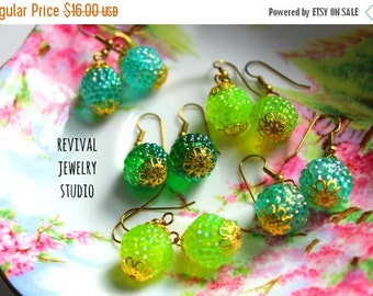 20% off Adorable Green Beaded Earrings - Gumdrop Earrings - Bright Colorful Earrings
