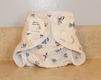 Small PUL Diaper Cover with Leg Gussets- 6 to 12 pounds- Robots on White- 21016