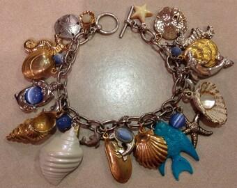 Upcycled Sea Life Silver Charm Bracelet