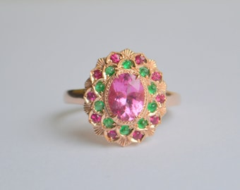 Oval Camellia Ring with Pink Tourmaline, Emerald and Ruby in 14 K Rose Gold