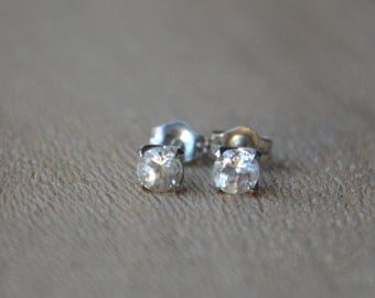 White Gold Zircon Studs, zircon earrings, white zircons, low profile studs, gifts for moms, white gemstones, diamond studs