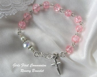 Girls First Communion Rosary Bracelet