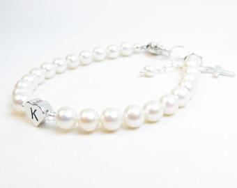 Baby Girl Bracelet // Baptism Bracelet // Christening Bracelet // Baby Bracelet // Pearl Baby Bracelet // Baby Baptism // First Communion