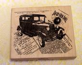 Peddler's Pack Wood Mounted Stamp Collage