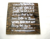 TRUST YOURSELF Wood Print, Screen Rustic Motivational Poster, Wall Decor Interior Design Quote Saying Arnold Work Hard Inspiration, Motivate