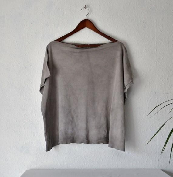 Organic Tshirt Top Bamboo Cotton Strega Grey Gots Fabric