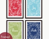 Love, Joy, Peace and Faith Floral Wreath (Series B) Set of 4- Art Poster Prints (Featured in Ruby Red, Maliblu, Basil and Deep Blue)