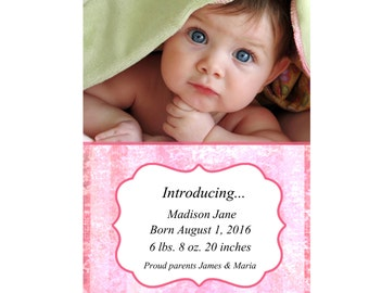 5x7 Baby Announcement Downloadable Template, Instant Download, Digital File
