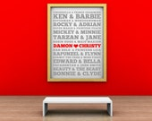 Customized SUBWAY ART  - New For Valentines- Famous Couples- Vinyl lettering wall decal sticker gift,Design Divas 1219 in 2 colors