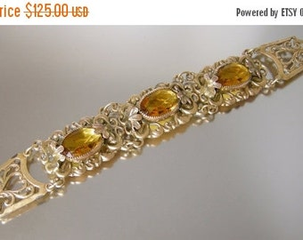 30% Off Sale Art Deco Topaz Glass Bracelet Rolled Gold for Small Wrists