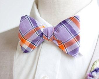 Bow Ties, Bow Tie, Bowties, Mens Bow Ties, Freestyle Bow Ties, Self-Tie Bow Ties, Groomsmen Ties - Purple And Orange Organic Madras Plaid
