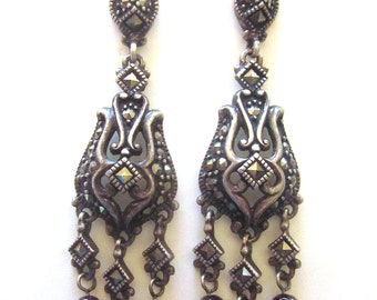 Vintage Sterling Silver Dangle Earrings Marcasite Garnet Gemstone Art Nouveau Style Jewelry Post Back