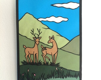 Two deer - Original papercut art