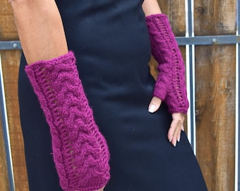 Knit arm warmers deep purple fingerless gloves cable knit lace gift for her girlfriend gift Valentines Day gift under 35