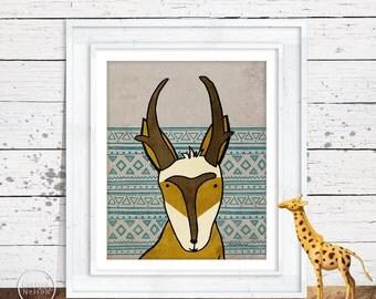 Antelope Pronghorn Illustration Children's Art Printable - Instant Download 8x10