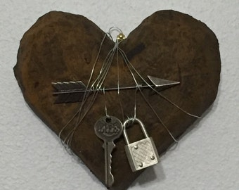 SALE Rusted Heart Assemblage Sculpture
